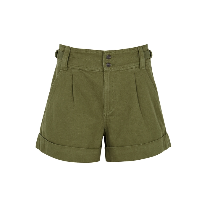 Current Elliott The Relaxed Olive Cotton-blend Shorts