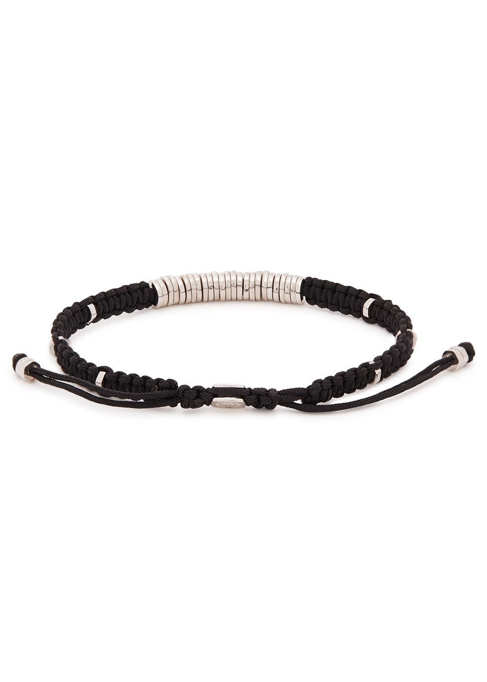 Sterling silver black woven bracelet - Tateossian