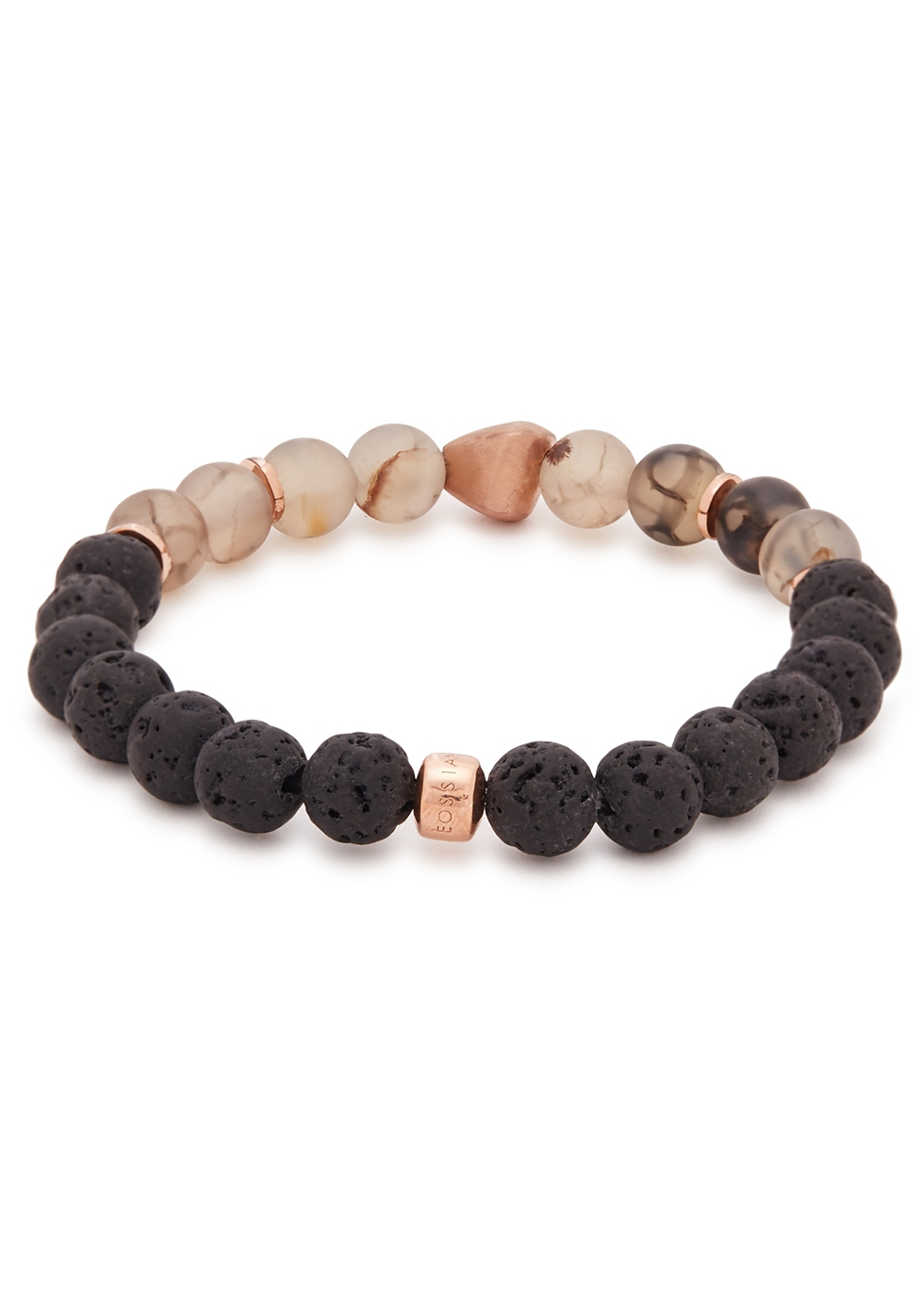 Nugget rose gold-plated beaded bracelet - Tateossian