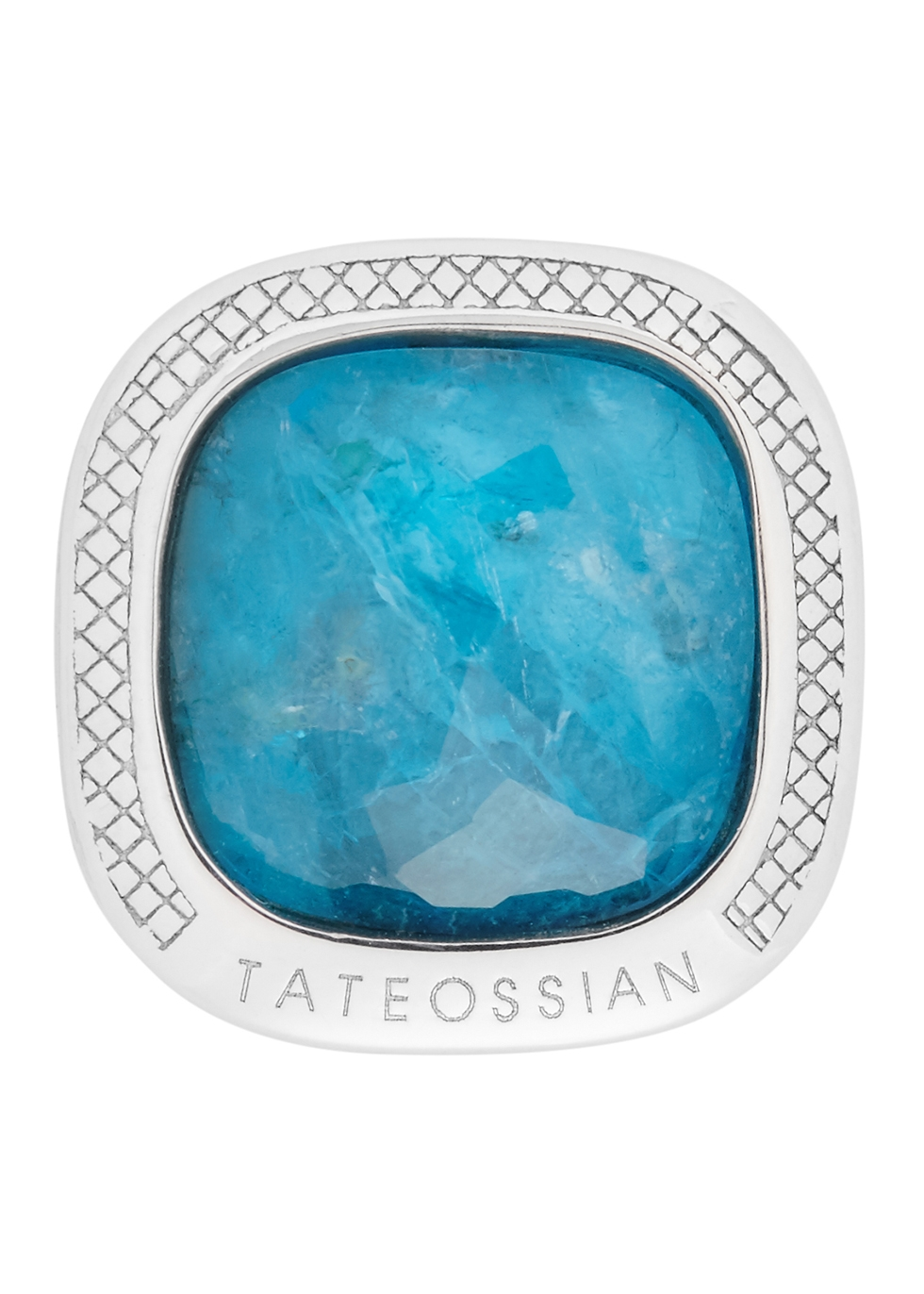 Cushion sterling silver apatite cufflinks - Tateossian