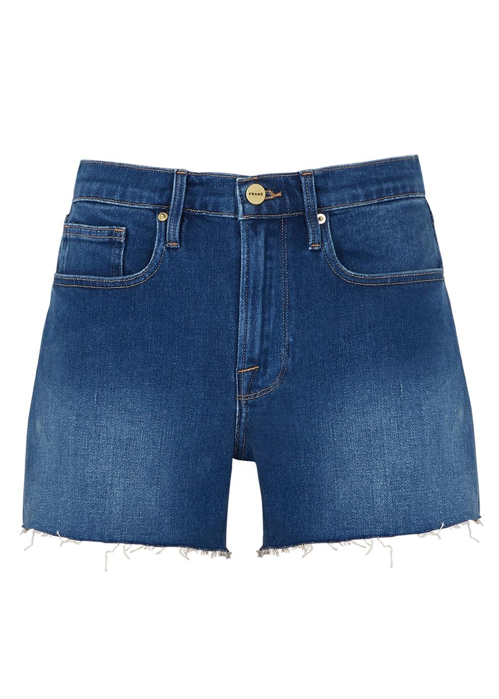 Bridgette distressed stretch-denim shorts - Frame Denim