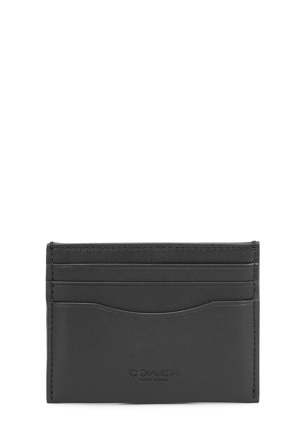 Black leather card holder - Coach