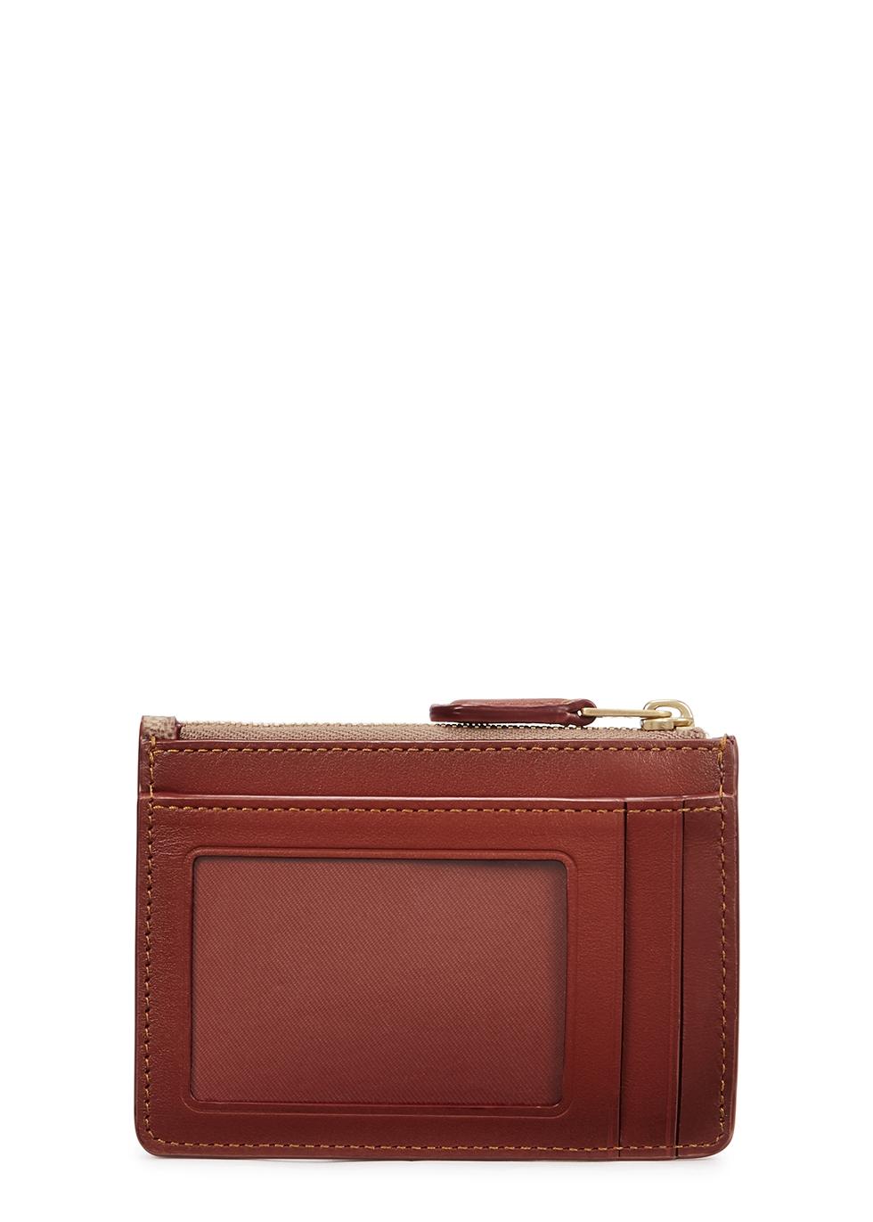 Mini brown leather card holder - Coach