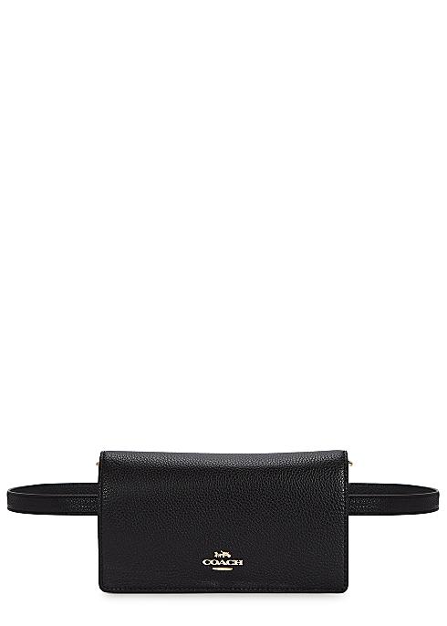 1f0a460aaf Coach Pebble black leather belt bag - Harvey Nichols