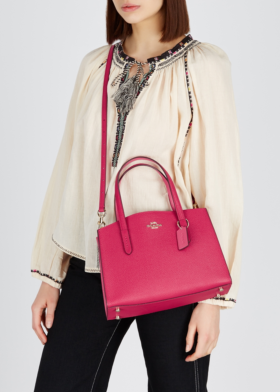 Charlie 28 leather top handle bag - Coach