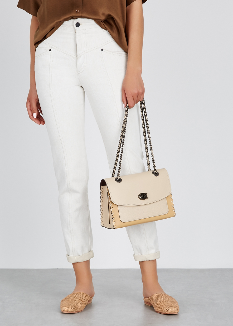 Parker ivory leather shoulder bag - Coach