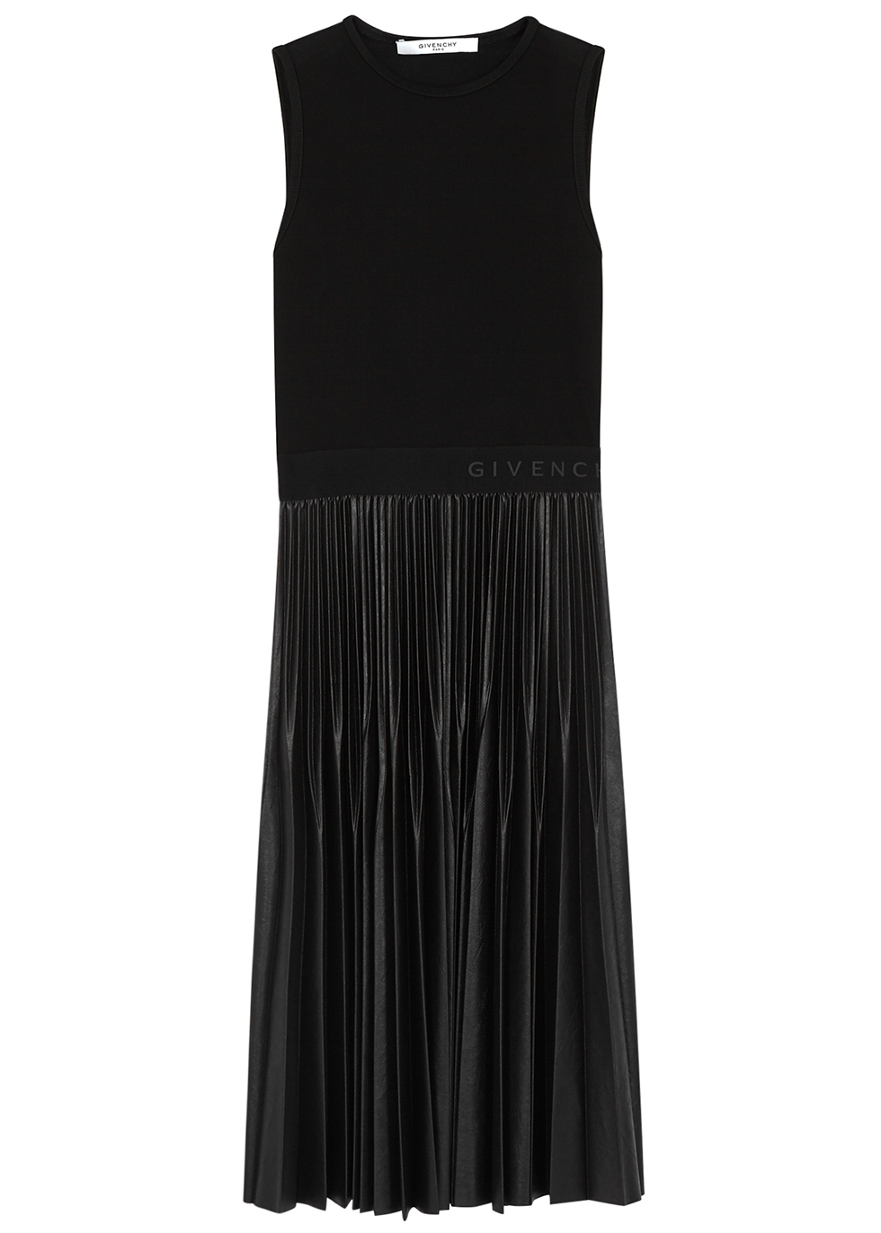 Black faux-leather and jersey midi dress - Givenchy