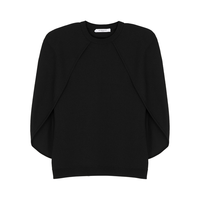 Givenchy Knits BLACK CAPE-EFFECT STRETCH-KNIT JUMPER
