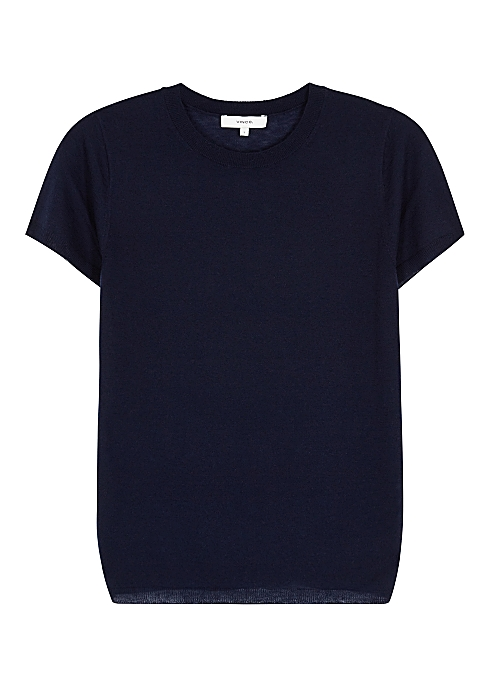 Vince Navy wool-blend knitted T-shirt - Harvey Nichols