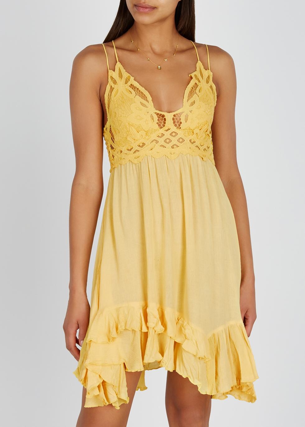 Adella yellow lace-trimmed mini dress - Free People