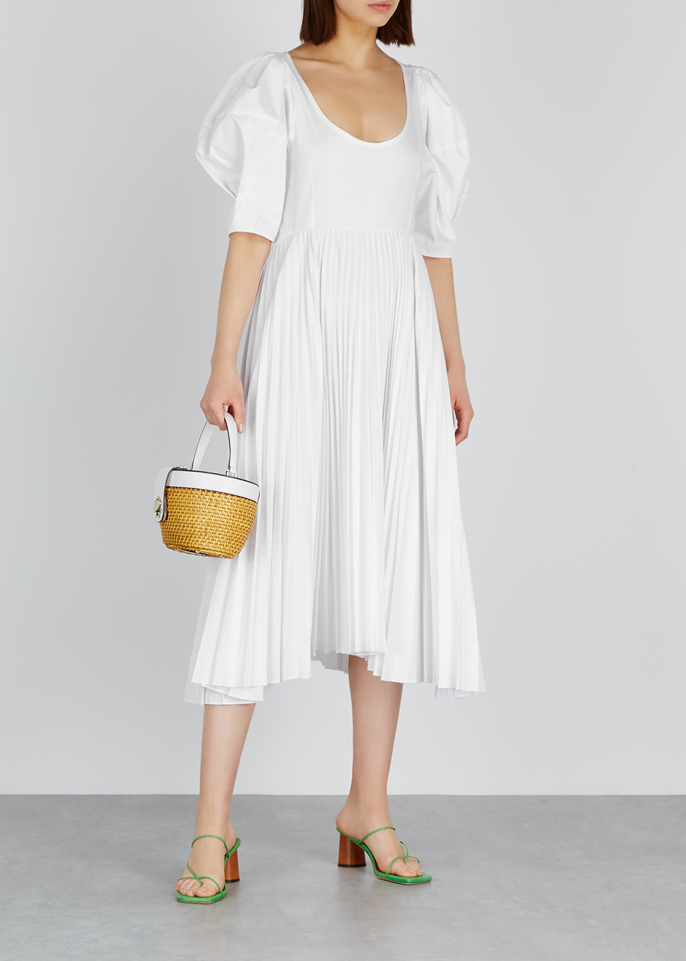 Caitlin pleated poplin midi dress - Khaite