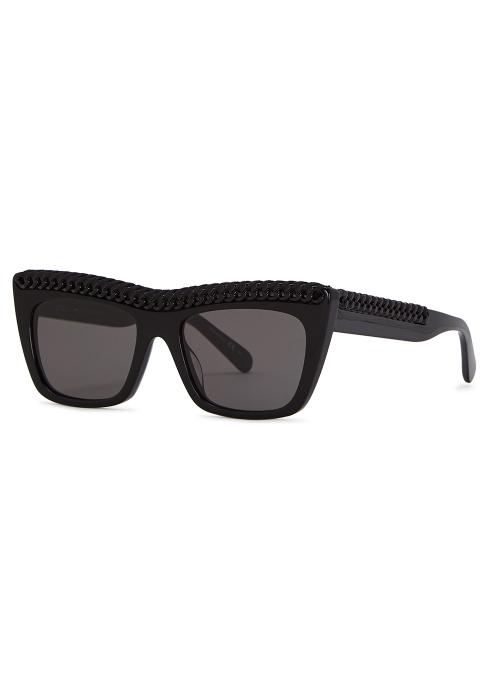 5fa4c2a39a80 Stella McCartney Black D-frame sunglasses - Harvey Nichols