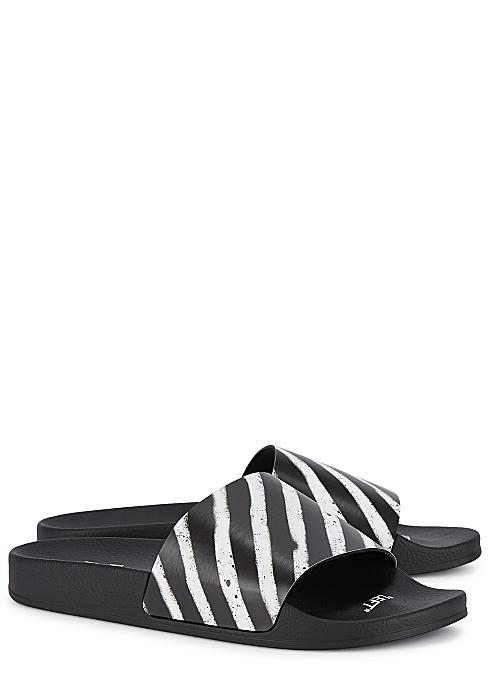 fbd7cdd26 Off-White Spray black striped rubber sliders - Harvey Nichols