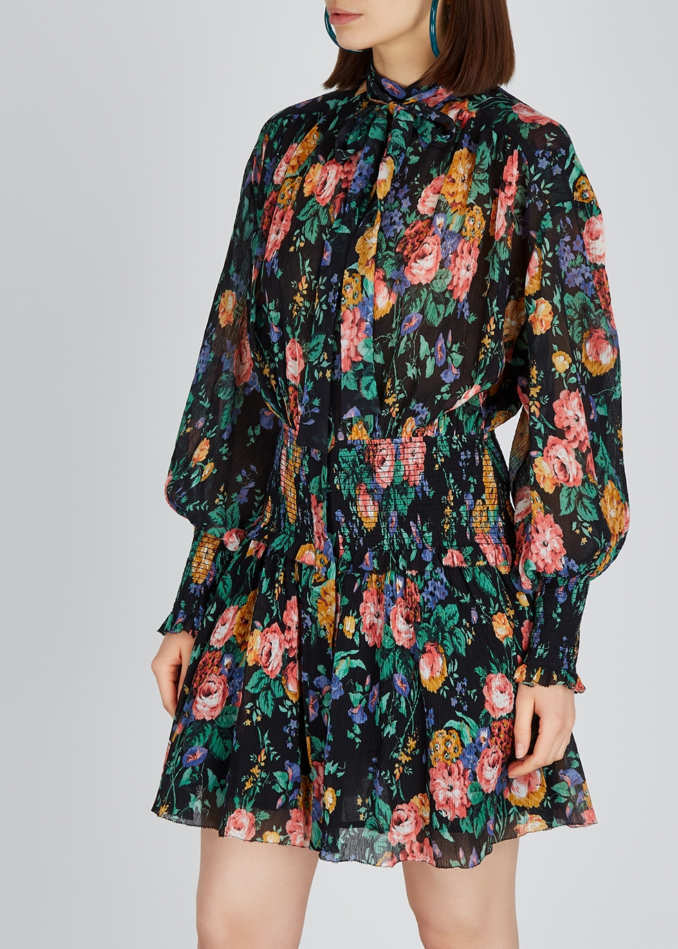 Allia floral-print plissé mini dress - Zimmermann