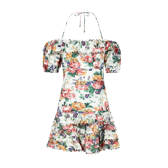 Zimmermann Allia Floral-Print Linen Mini Dress