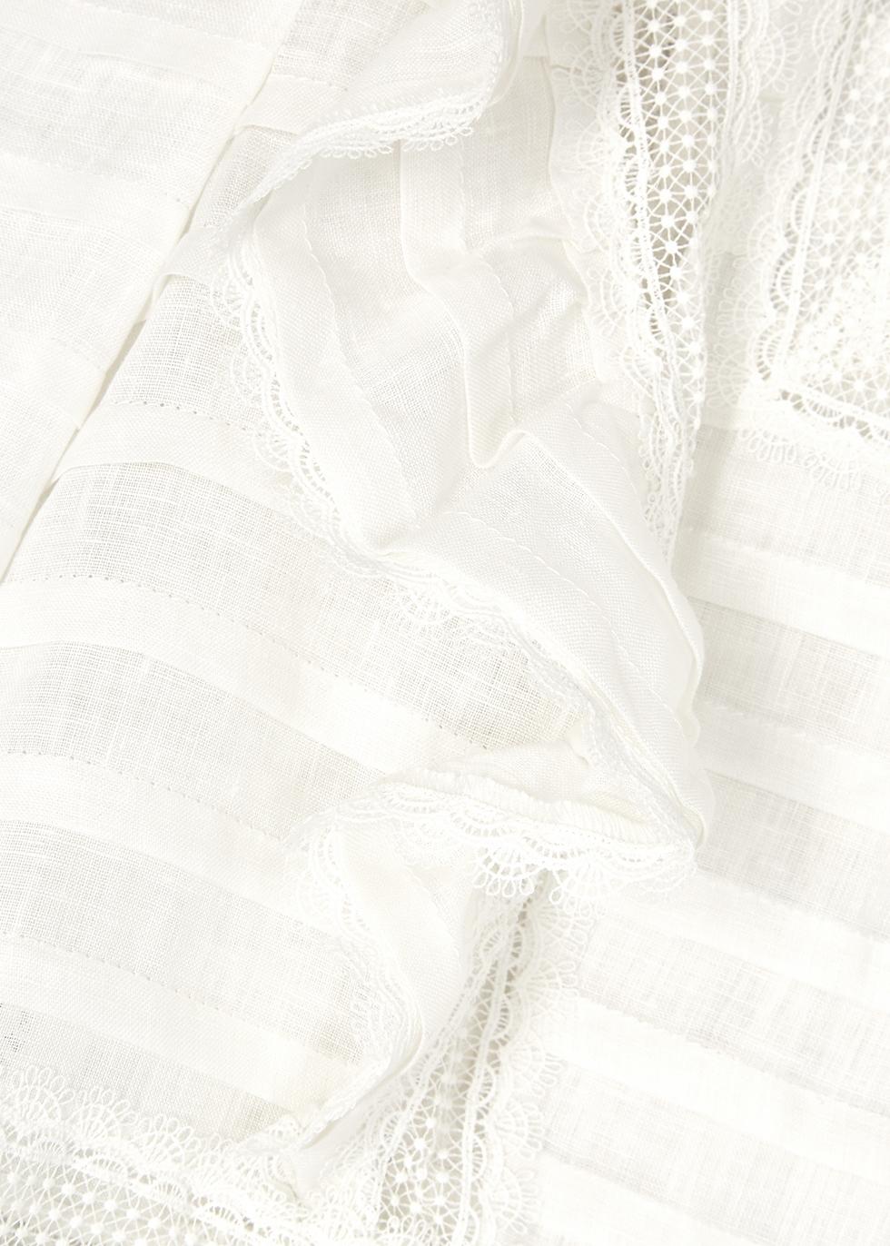 Allia ivory lace-trimmed linen top - Zimmermann
