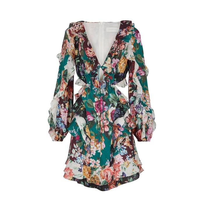 Zimmermann Allia Floral-Print Ruffled Linen Mini Dress