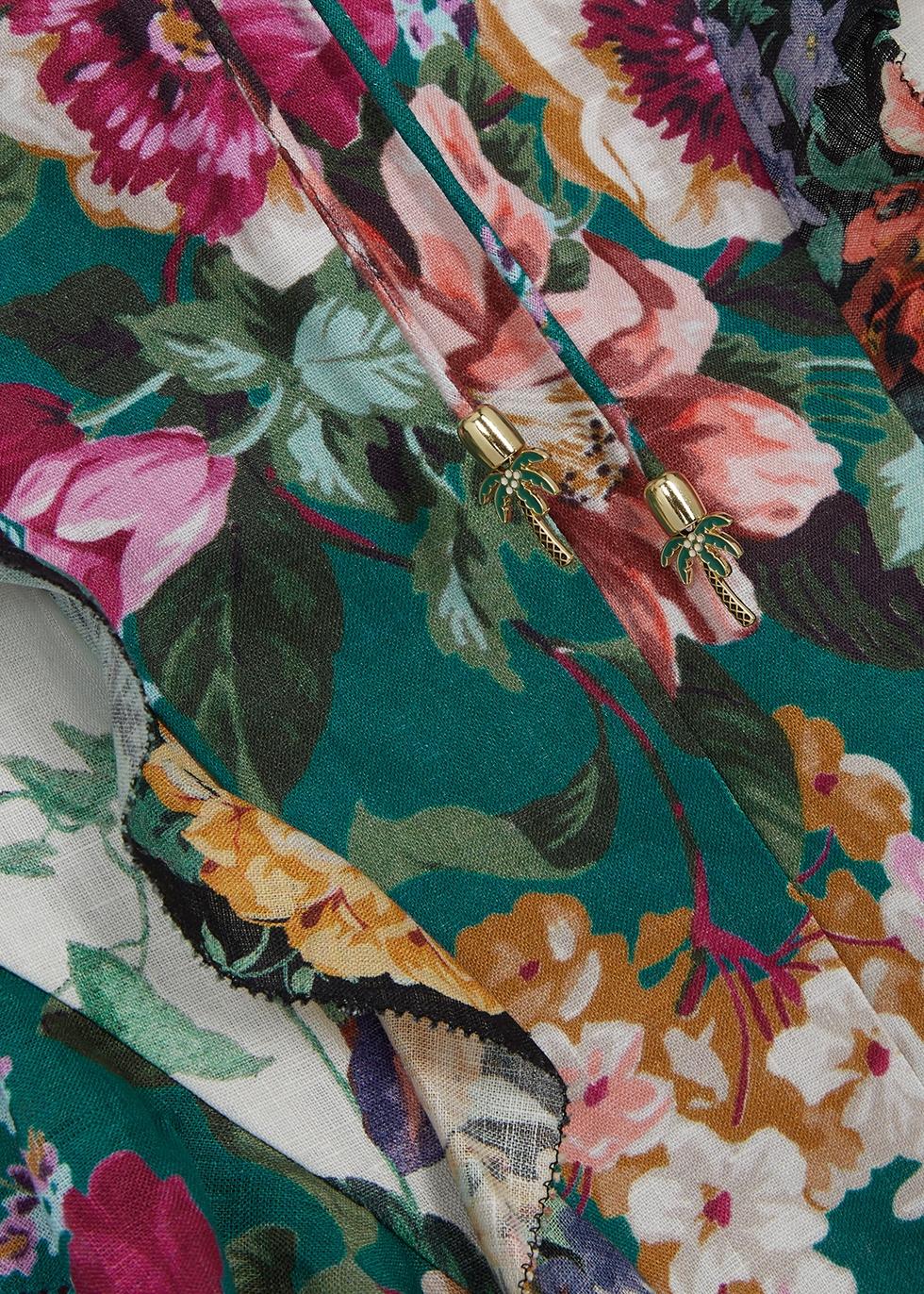 Allia floral-print ruffled linen mini dress - Zimmermann