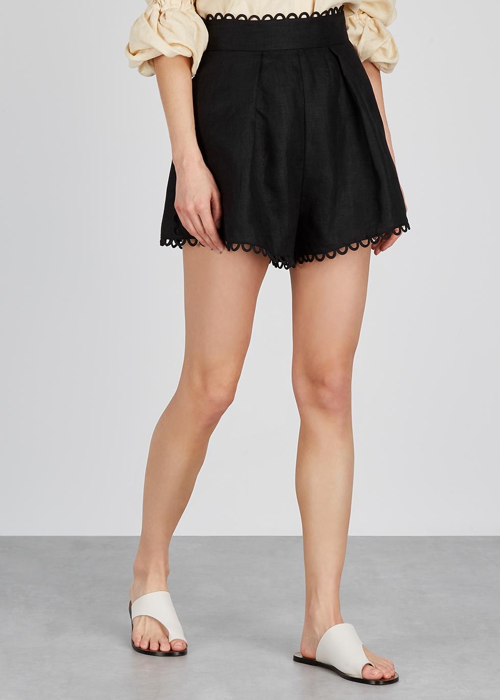 Allia black linen shorts - Zimmermann