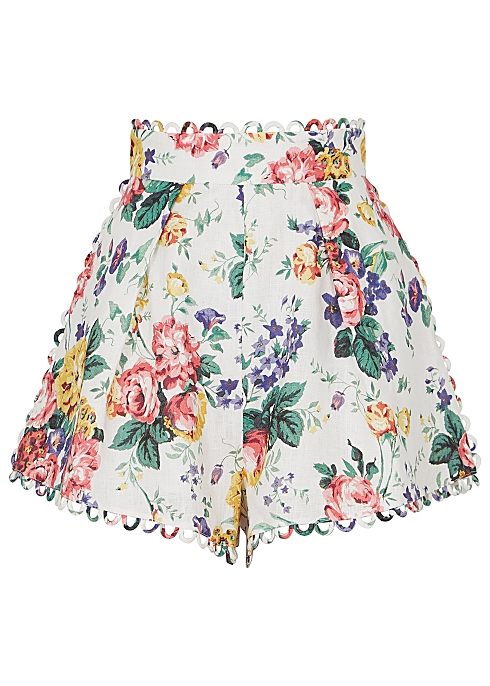 bce70ab5a Zimmermann Allia white floral-print linen shorts - Harvey Nichols