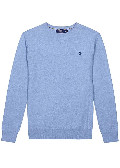 cozy fresh huge inventory wholesale price Polo Ralph Lauren Light blue Pima cotton jumper - Harvey Nichols