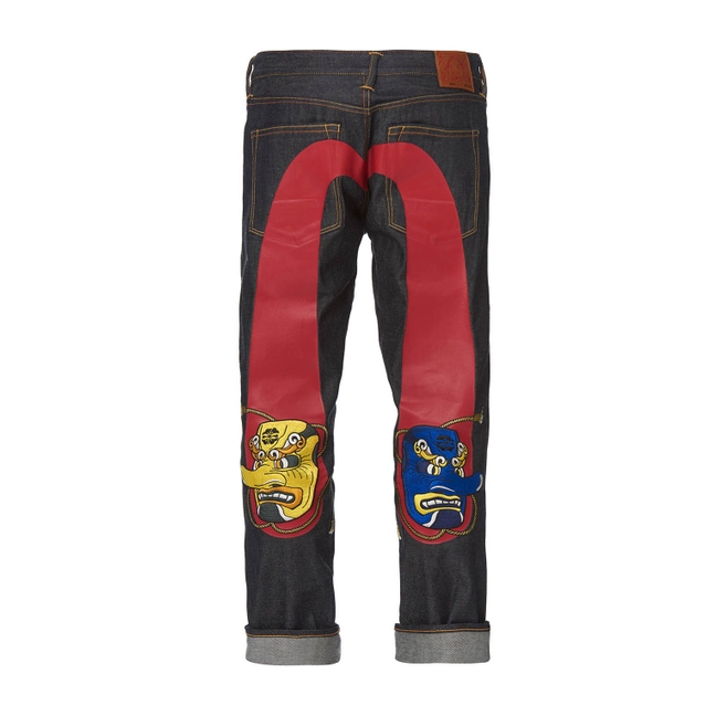 71bada50c393 Evisu Carrot-Fit Denim Jeans With Tengu Masks Embroidered On Daicock Print  In Blue