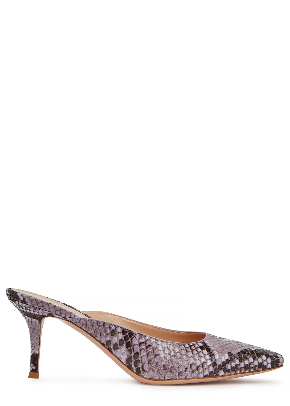 GIANVITO ROSSI | Gianvito Rossi Vitello 70 Python-Effect Leather Mules | Goxip