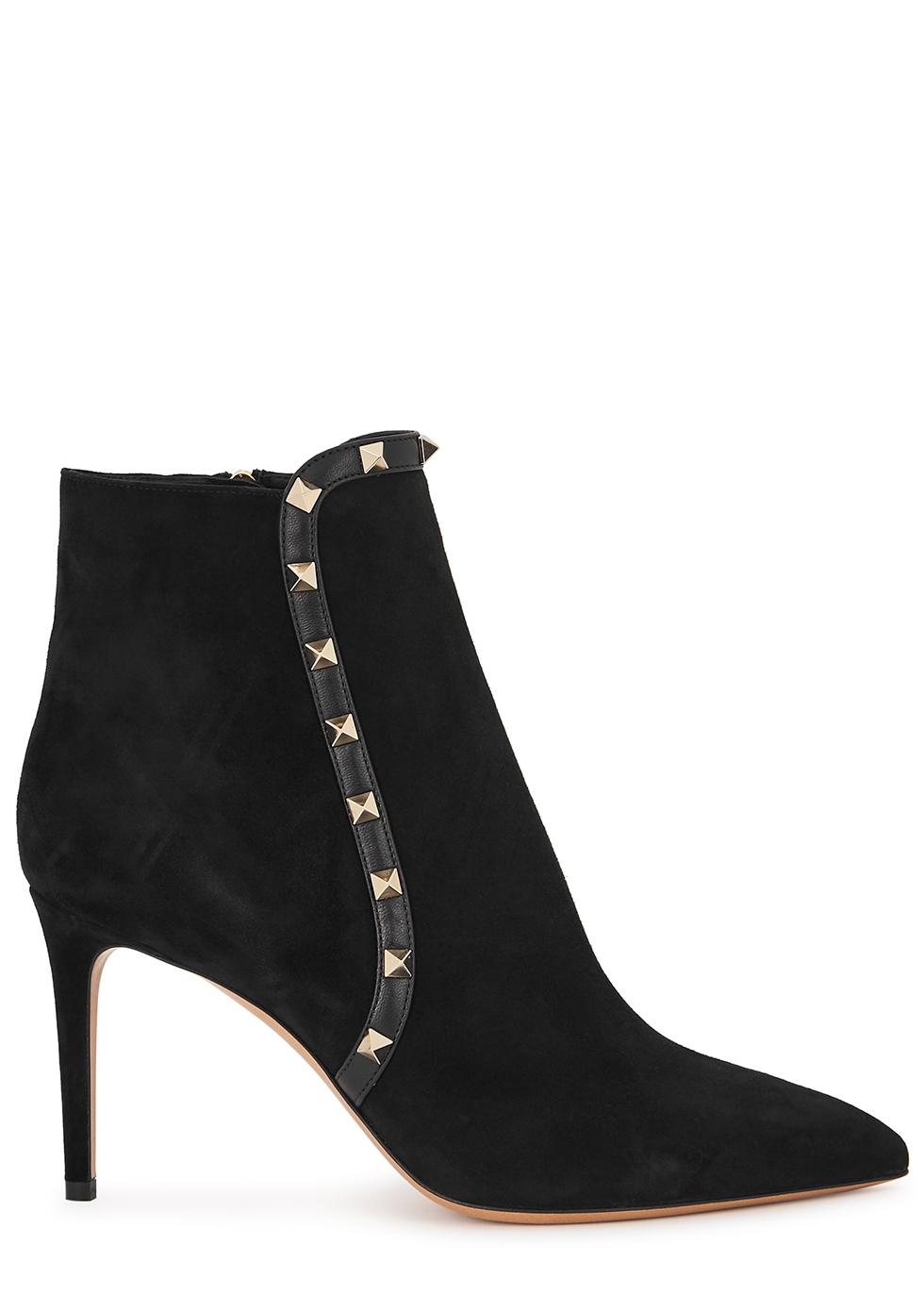 Valentino Garavani Rockstud 85 black suede ankle boots