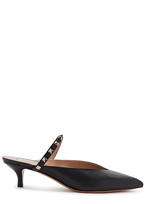 62e507a3637 Valentino Garavani Rockstud Hype 30 black leather mules - Harvey Nichols