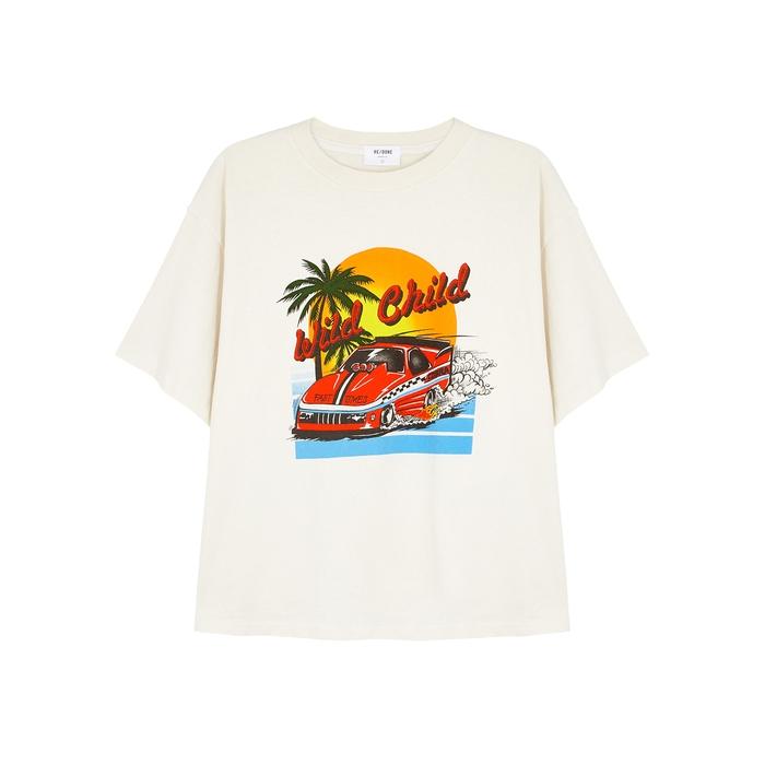 Re/done T-shirts Ex Boyfriend off-white cotton T-shirt
