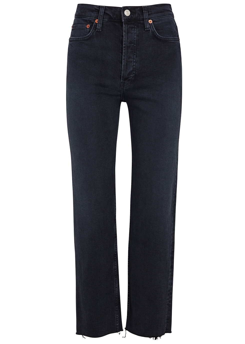 RE/DONE   RE/DONE Stove Pipe Black Straight-Leg Jeans   Goxip