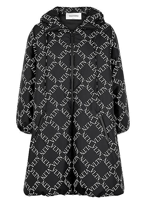 1a862f83d32 Valentino VLTN Grid-print black shell coat - Harvey Nichols