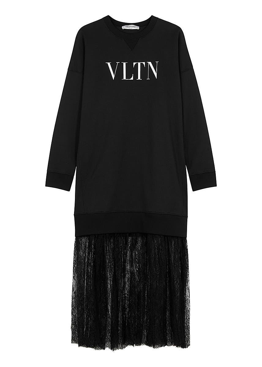 737f02f90a826a VLTN jersey and lace sweatshirt dress ...
