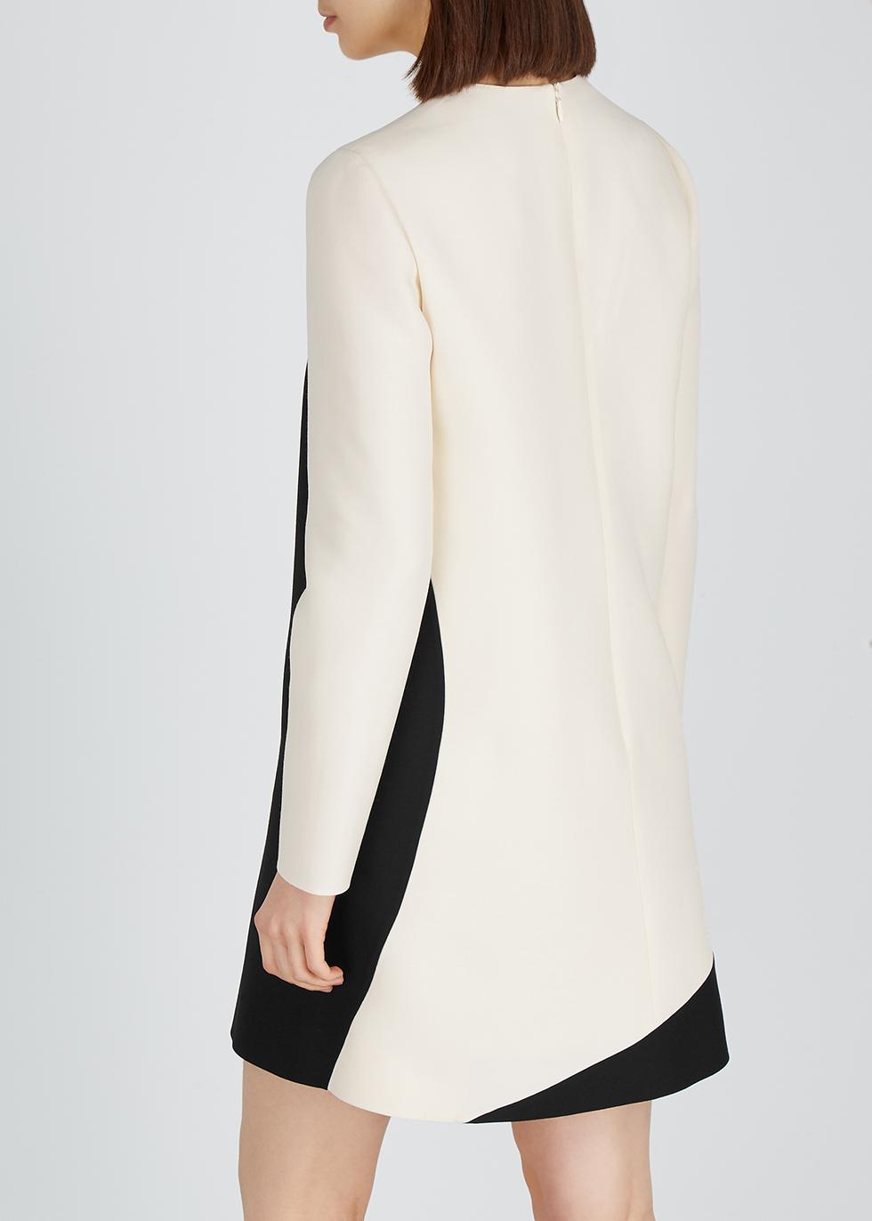 Monochrome wool-blend mini shift dress - Valentino