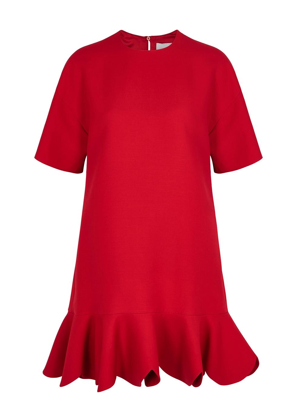 VALENTINO   Valentino Red Scalloped Wool-Blend Dress   Goxip