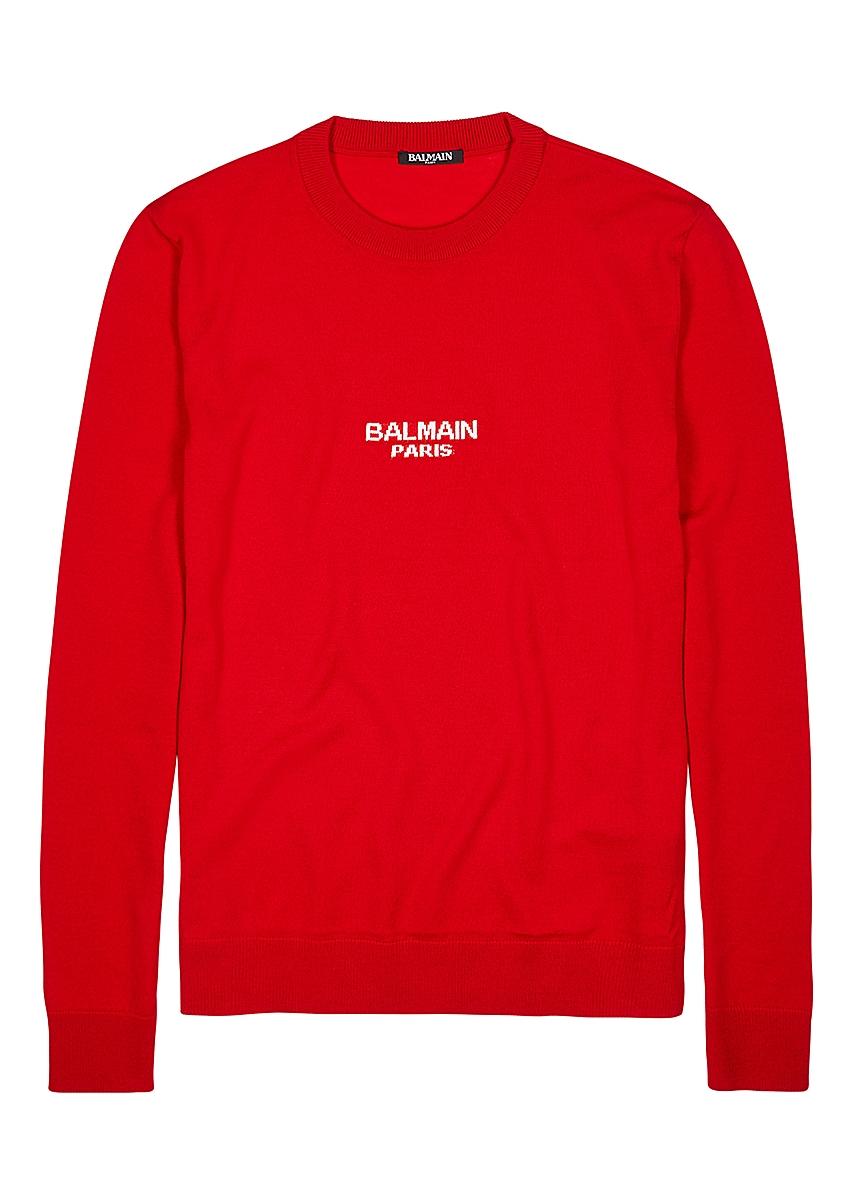 2268557e Red logo-intarsia wool jumper ...