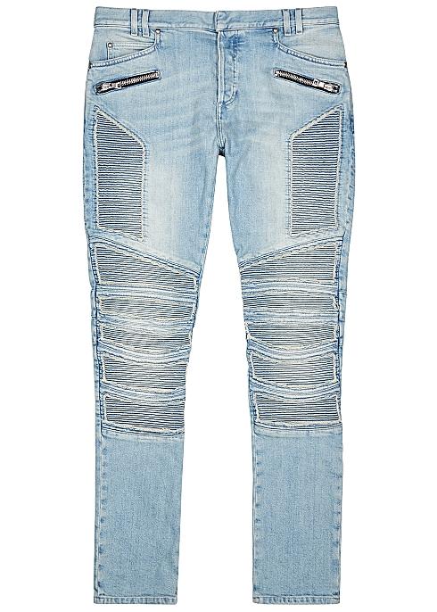 f432c198 Balmain Light blue slim-leg biker jeans - Harvey Nichols
