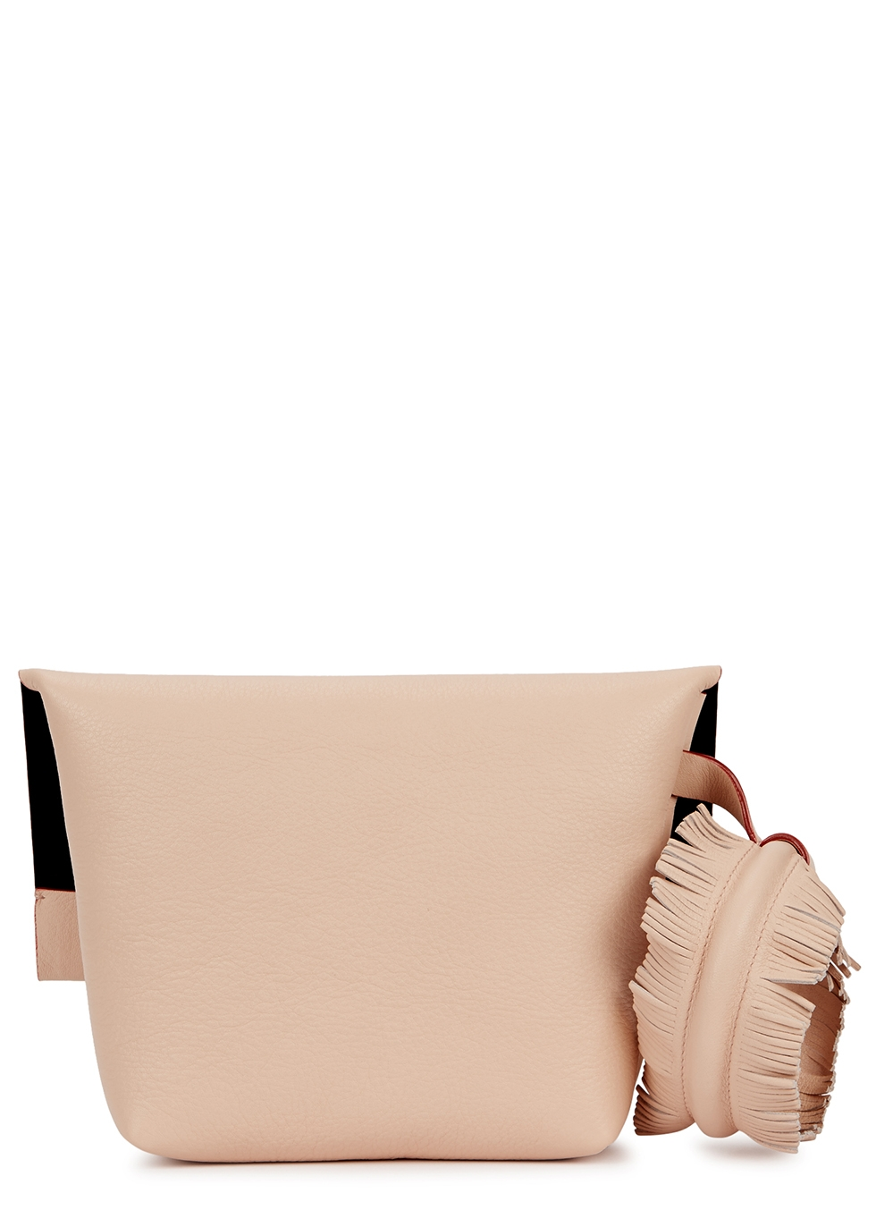 Bunny Touch light-pink leather clutch - Elena Ghisellini