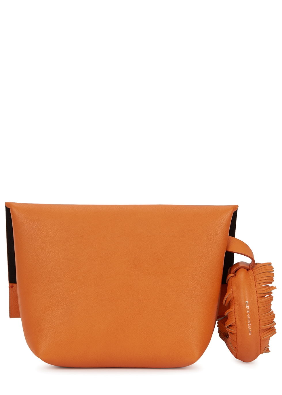 Bunny Touch orange leather clutch - Elena Ghisellini