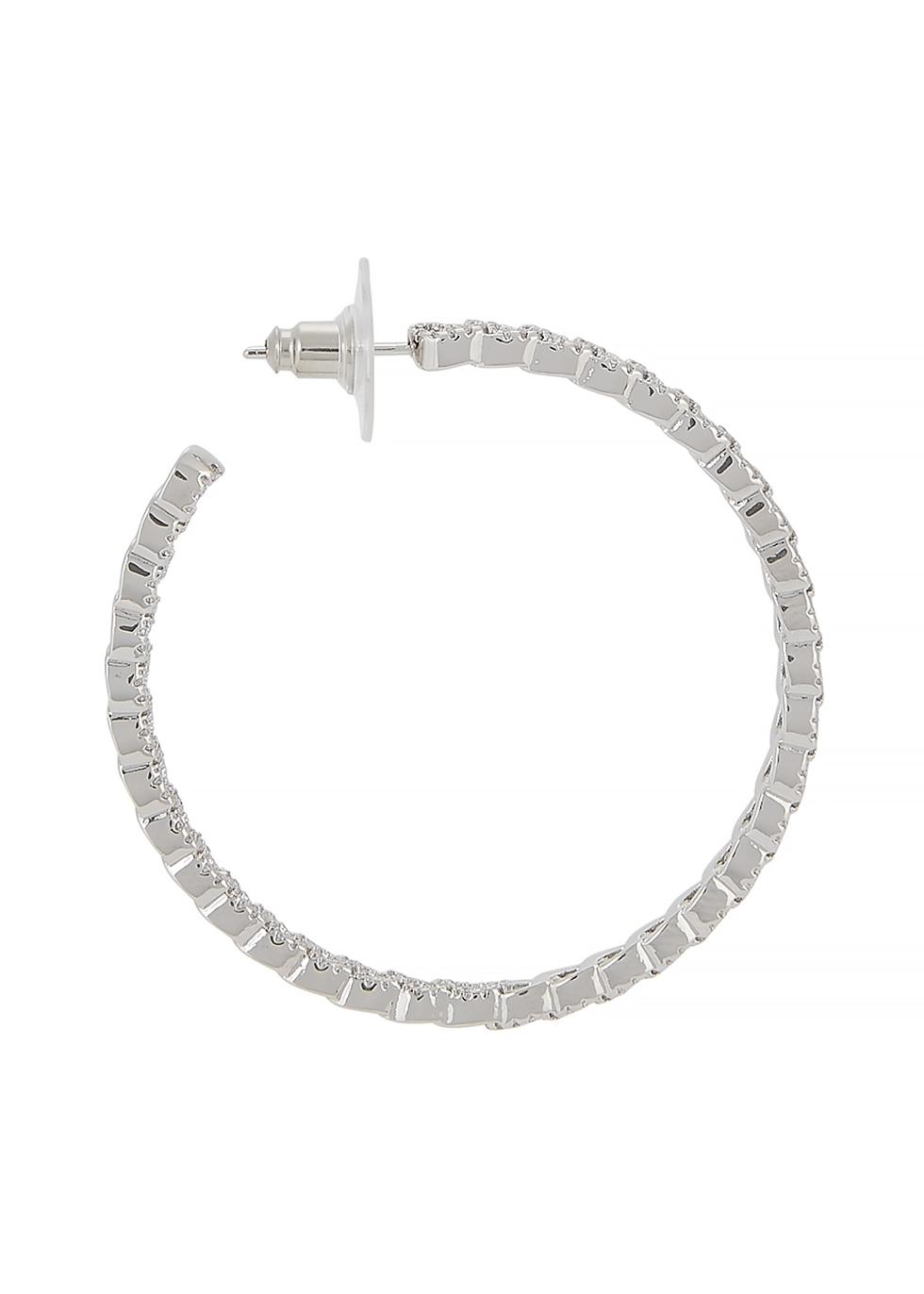 Crystal-embellished silver-tone hoop earrings - FALLON