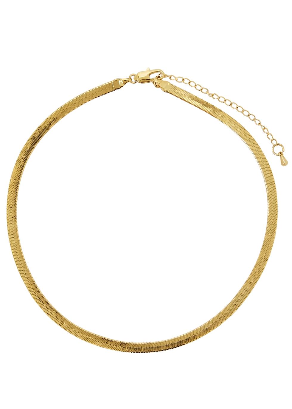 Liquid gold-plated chain choker - FALLON