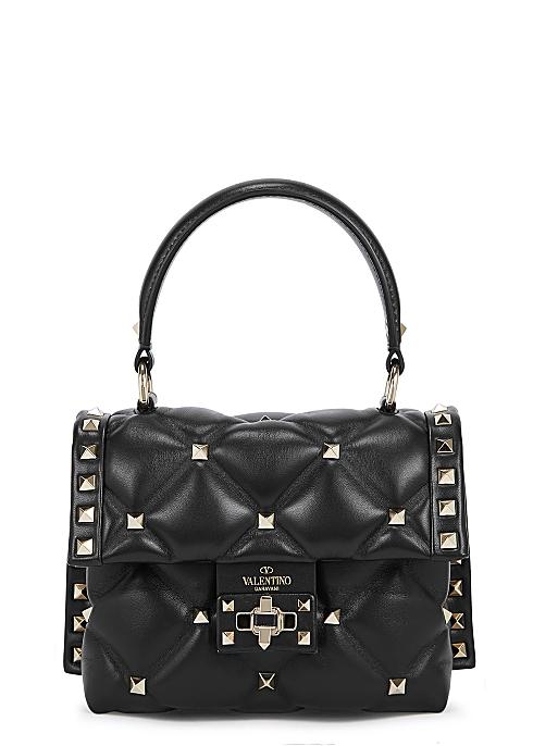 16f0877979a Valentino Garavani Candystud mini black leather top handle bag ...