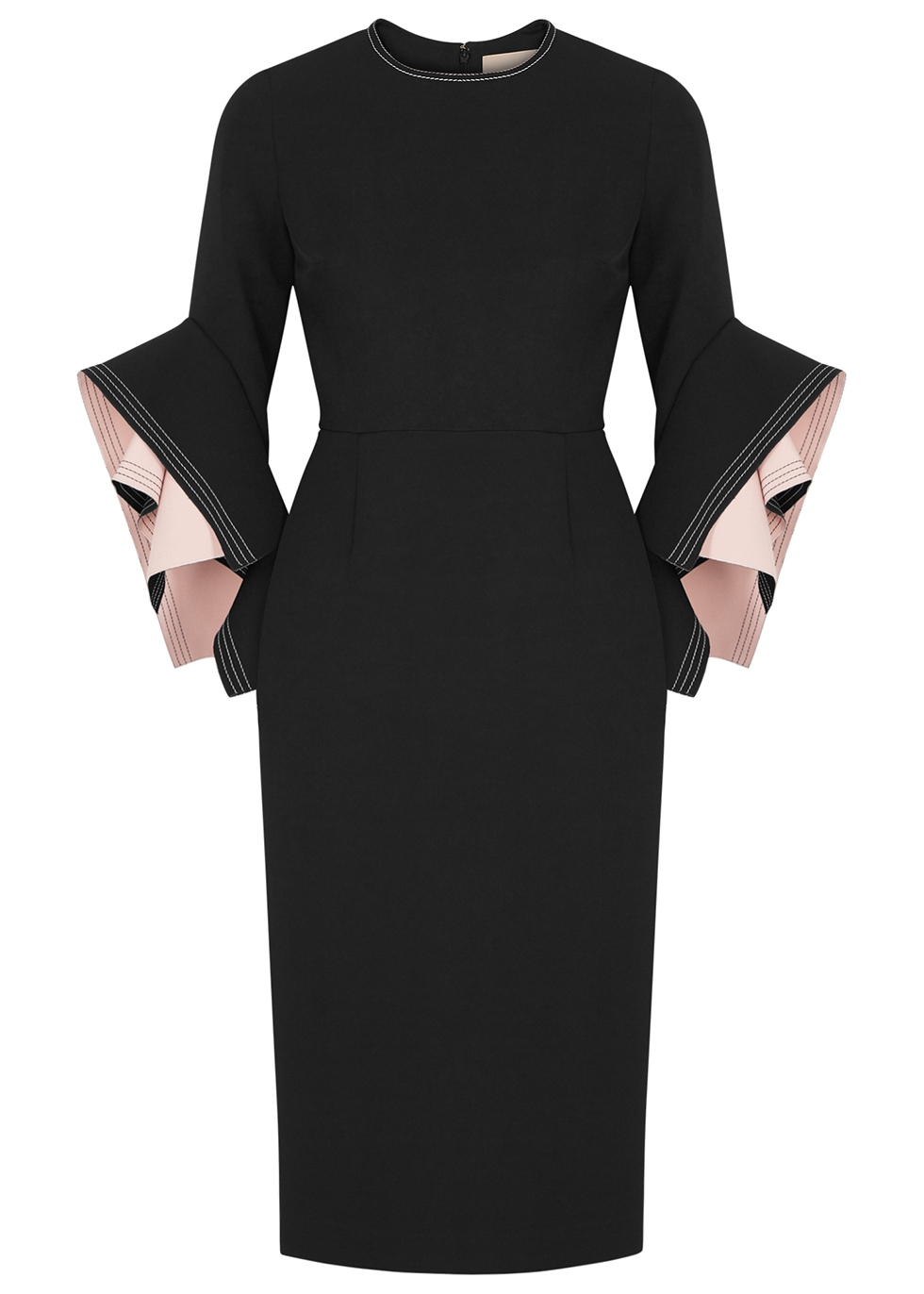 Ronda black origami-sleeve dress