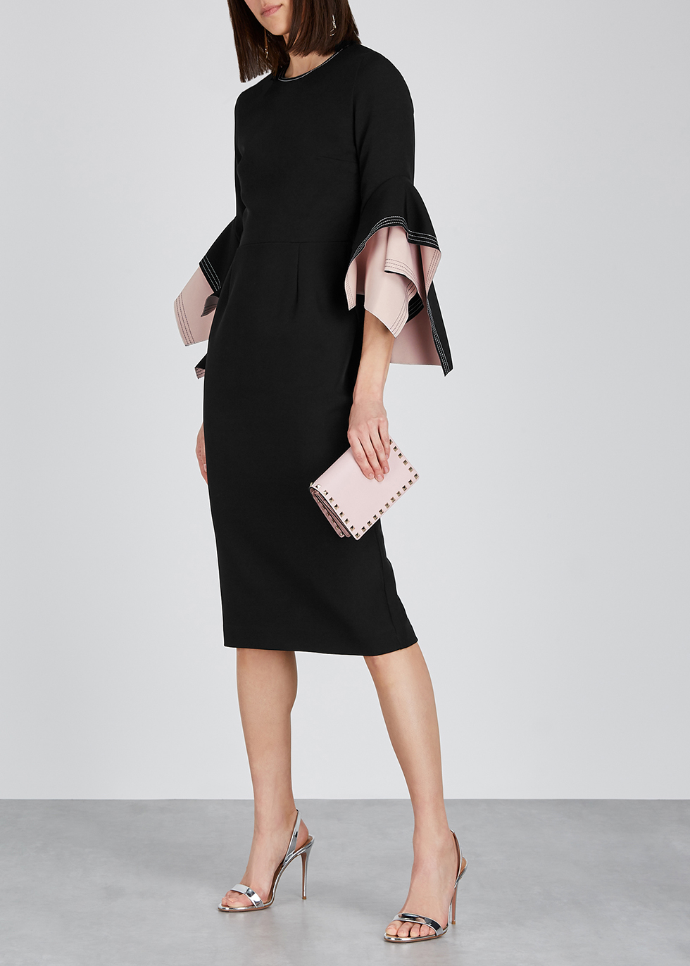 Ronda black origami-sleeve dress - Roksanda