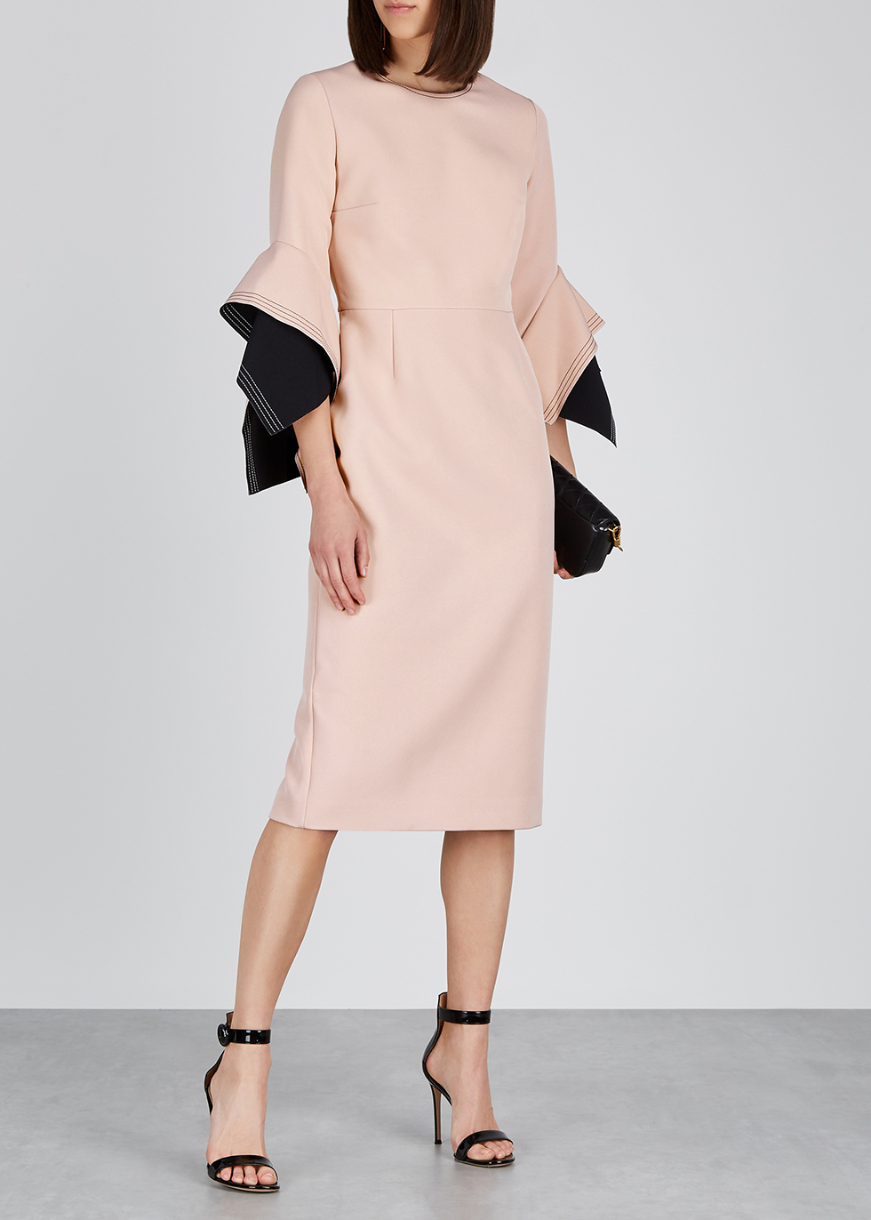 Ronda dusky pink origami-sleeve dress - Roksanda