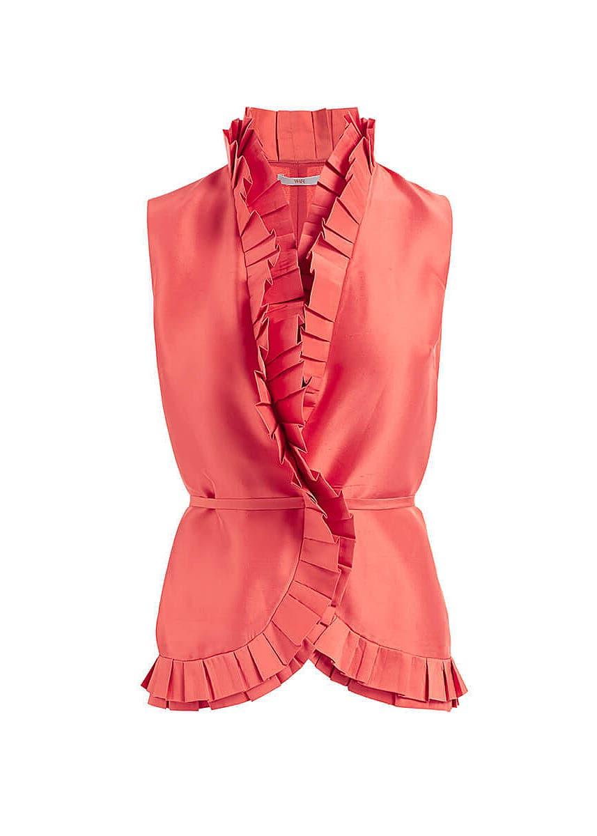 6280efff Elise coral ruffled silk wrap blouse ...