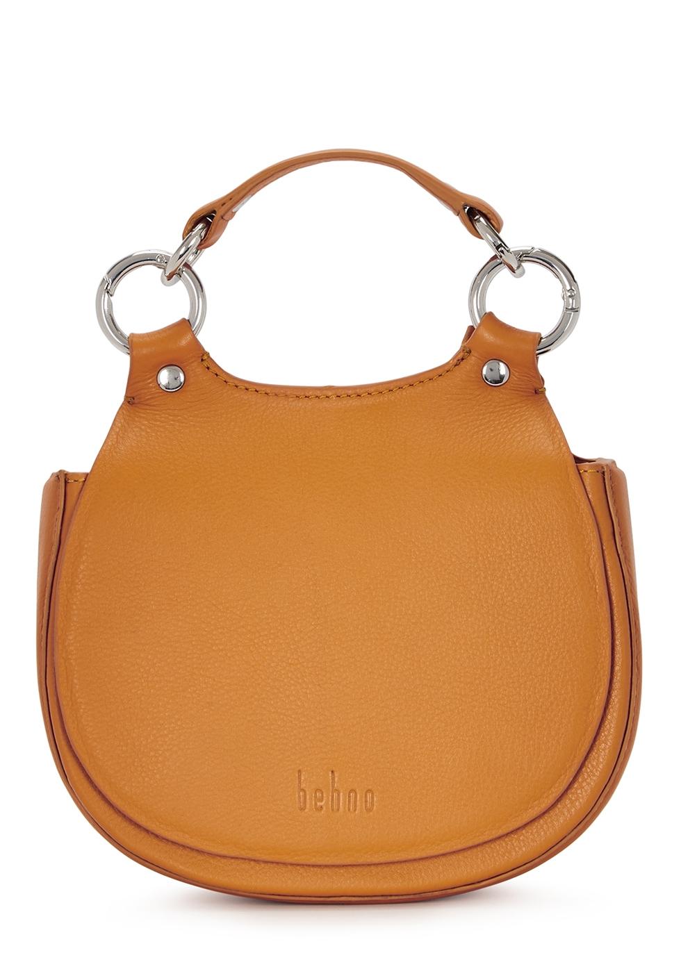 Tilda mini orange leather saddle bag - Behno