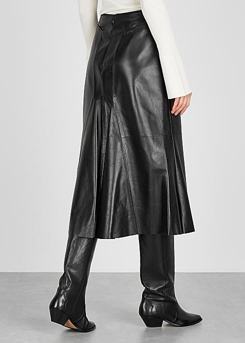 2b81c6ce4 Alexander McQueen Black leather midi skirt - Harvey Nichols