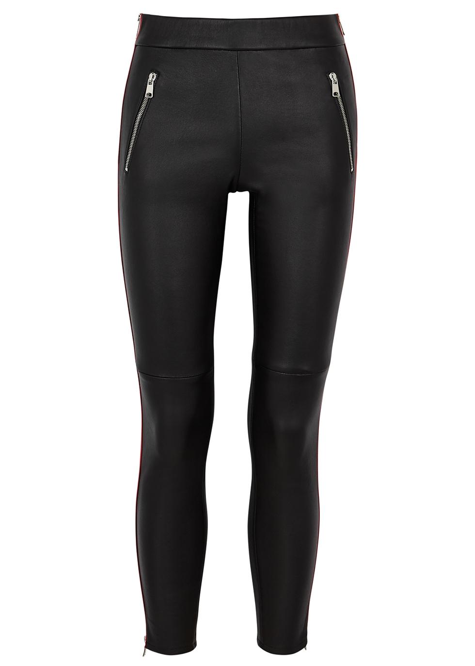 ALEXANDER MCQUEEN   Alexander McQueen Black Striped Leather Trousers   Goxip