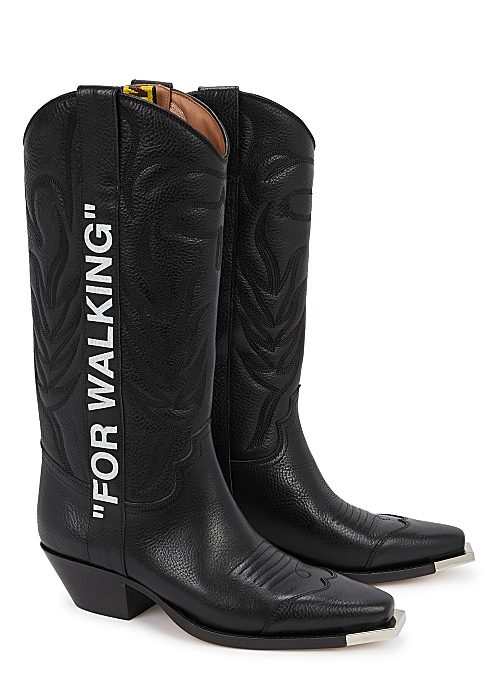74e15604736 Off-White For Walking black leather knee boots - Harvey Nichols